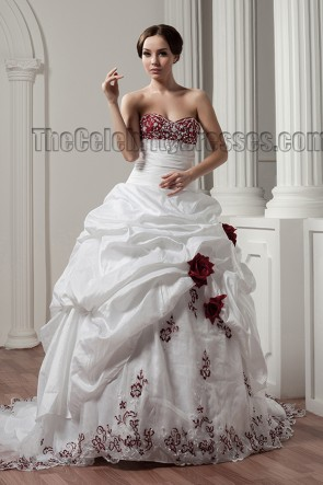 White And Burgundy Embroidered A-Line Strapless Wedding Dresses