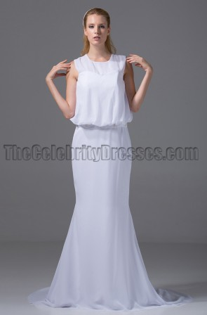 Chic White Chiffon Prom Gown Evening Dresses