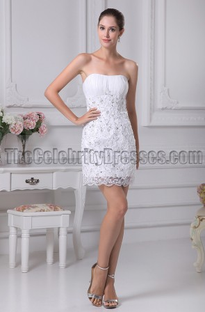 White Lace Short Strapless Party Homecoming Dresses