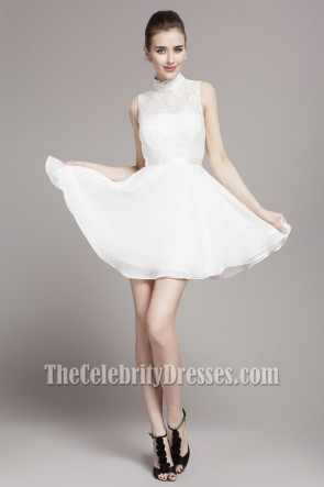 White Short A-Line High Neck Party Homecoming Dresses
