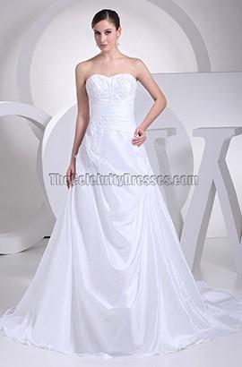Discount White Strapless Taffeta A-Line Wedding Dresses