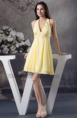 Yellow Halter Chiffon A-Line Cocktail Party Graduation Dress