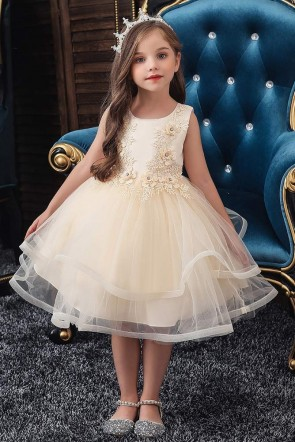 Ball-Gown Applique Flower Girl Dress