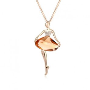 Ballet Dancer Swarovski Element Sweater Necklace for Women TCDN2203