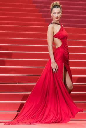 Bella Hadid Red Backless Prom Dress Cannes Film Festival 2019 TCD8776