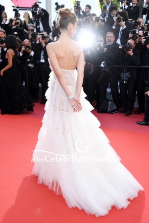 Bella Hadid White Halter See Through Ruffled Formal Dress 2019 Cannes Film Festival TCD8418