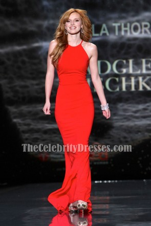 Bella Thorne Sexy Red Sheath Evening Prom Gown Heart Truth 2014