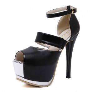 Black Ankle Strap Platform Women's Prom Shoes With Peep Toe