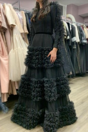 Black Ruffled Ball Gown With Long Sleeves