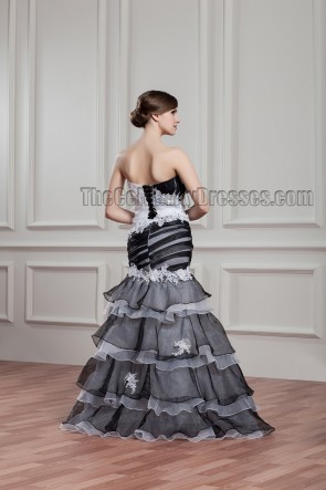 Black And White Strapless Beaded Evening Formal Dresses