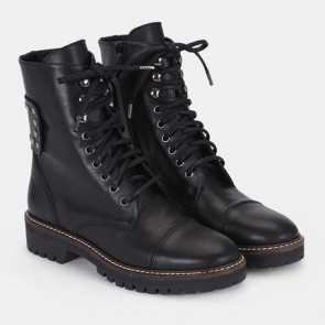 Black Lace-up Combat Boots With Rivet