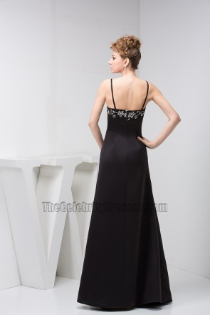 Black Spaghetti Straps Embroidered Evening Dresses
