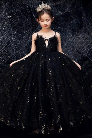 Black Sparkly Flower Girl Dress