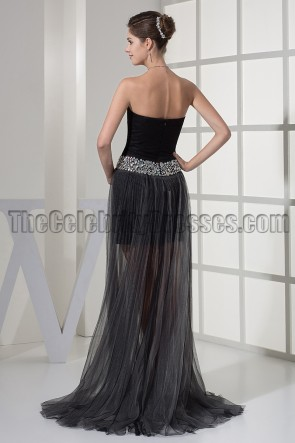 Black Sweetheart High Low Prom Gown Evening Party Dresses