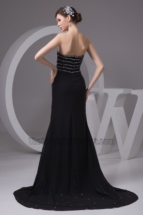 Black Strapless Beaded Evening Dress Formal Prom Gown