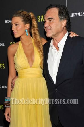 Blake Lively Gelbes Halfter Promkleid Savages New York Premiere