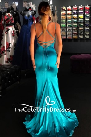 Blue Low V-neck Merdraid Prom Dress TCDFD8341