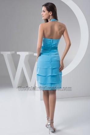 Schickes blaues Halfter Chiffon Cocktail Abschlussfeier Kleid