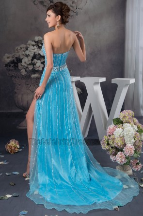Blue Sweetheart Strapless Formal Dress Prom Gown With Beadwork