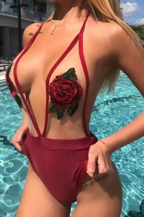 Burgundy Sexy Floral Bandage Swimsuit Halter Beach Bikinis For Sale