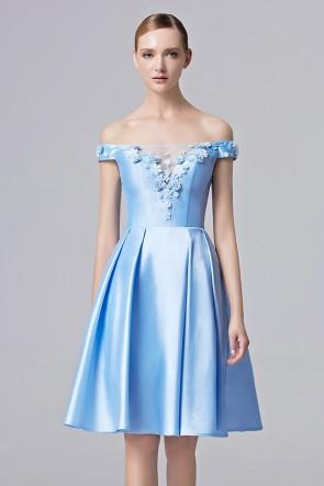 New Blue Off-the-shoulder Girls Party Dress Women Graduation Cocktail Dress TCDC31369