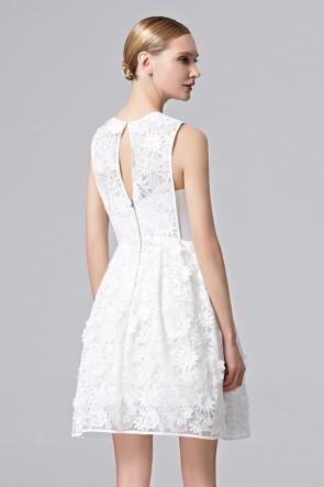 Lady Girls White Flower Party Dress Short Mini Cocktail Dress TCDC31362