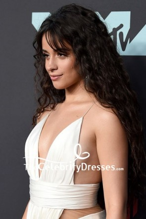 Camila Cabello White Sexy Cut out Evening Dress MTV VMAs 2019  TCD8623