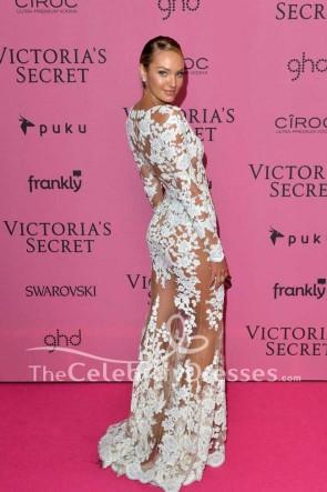 Candice Swanepoel sexy weiße Spitze Abendkleid mit Ärmeln 2014 Victoria's Secret Fashion Show