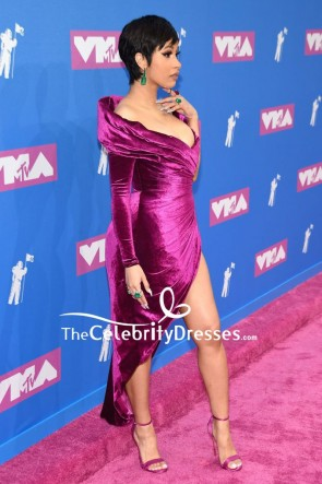 Cardi B Purple Slip Off-the-shoulder Cocktail Dress With Long Sleeves 2018 MTV VMAs TCD7999