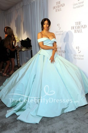 Cardi B Mint Off-Schulter-Ballkleid Kleid 2017 Rihanna's Diamond Ball
