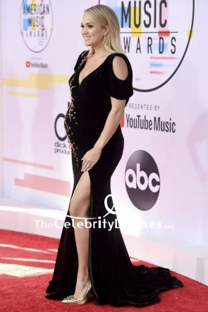 Carrie Underwood Black Cold-shoulder Maternity Evening Dress 2018 American Music Awards TCD8094