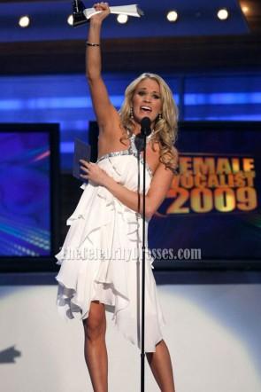 Carrie Underwood Halter weißes kurzes Cocktailparty-Kleid-Berühmtheitskleider
