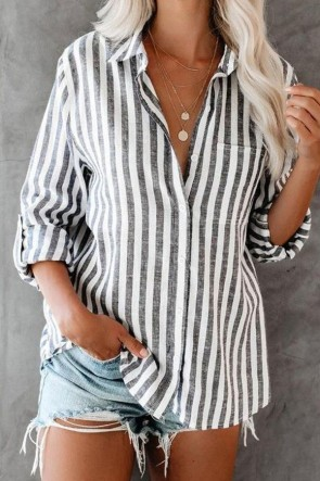 Casual Striped Single Breasted Shirt