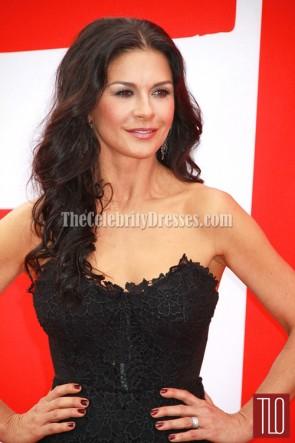 Catherine Zeta-Jones Schwarzes Spitze-Abschlussball-Kleid