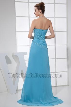 Blaue Perlen Trägerloses Abendkleid