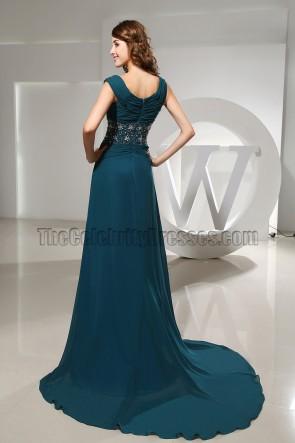 Promi inspirierte Chiffon Perlen Abendkleid