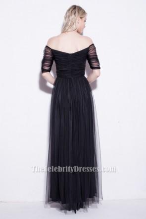 Celebrity Inspired Black Off-the-Shoulder Evening Prom Dresses TCDBF020