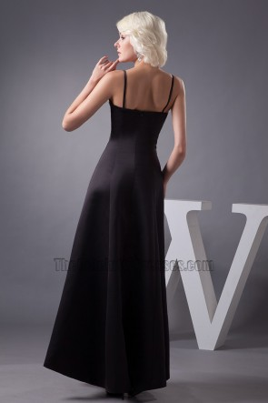 Celebrity Inspired Black Spaghetti Straps Formal Dress Prom Gown