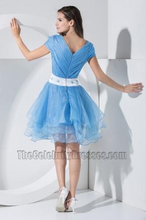 Promi inspirierte kurze blaue Organza Party Kleid Cocktail Homecoming Kleider