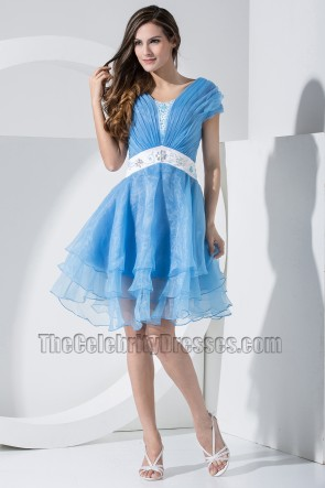 Celebrity Inspired Short Blue Organza Party Dress Cocktail Homecoming Dresses