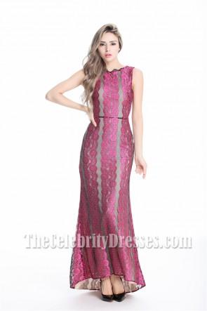 Celebrity Inspired Lace Backless Formal Evening Dresses