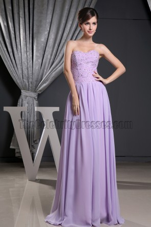 Celebrity Inspired Strapless Sweetheart Lilac Chiffon Prom Gown Formal Dress