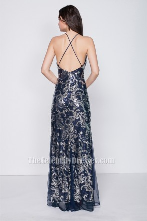 Celebrity Inspired Navy Backless Evening Gown Formal Dresses TCDBF203