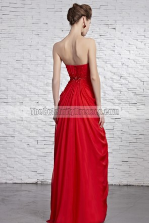 Celebrity Inspired Red Strapless Beaded Prom Gown Evening Dress