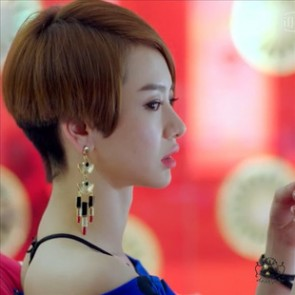 Celebrity Inspired Sector Lipstick Drop Earrings TCDE0045