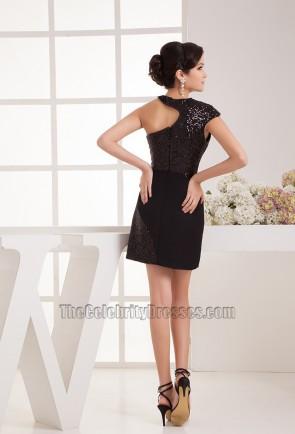 Promi inspirierte Pailletten kleine schwarze Party Heimkehrkleid