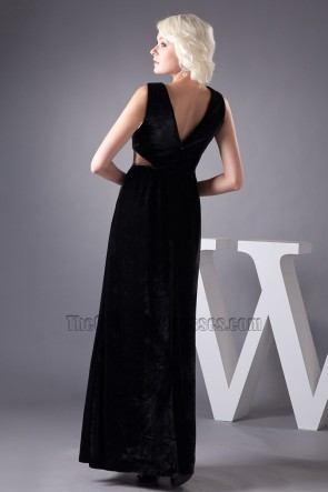 Celebrity Inspired Sexy Black Deep V-neck Evening Dress Prom Gown
