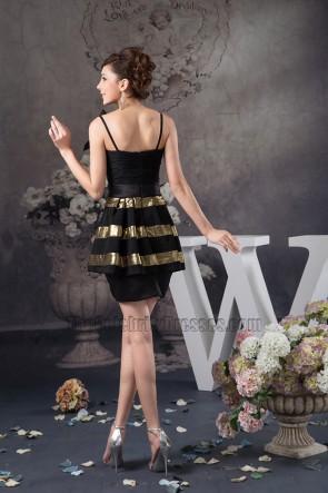 Promi inspiriertes kurzes Schwarz-Gold-Party-Heimkehrkleid