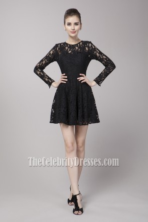 Celebrity Inspired Short Long Sleeve Party Little Black Dress