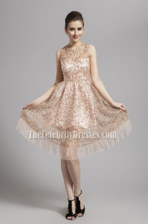 Celebrity Inspired Sleeveless A-Line Graduation Homecoming Dress